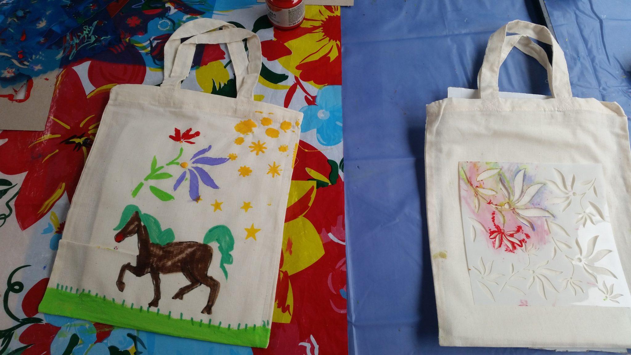 Kindergeburtstag Stofftaschen Bemalen